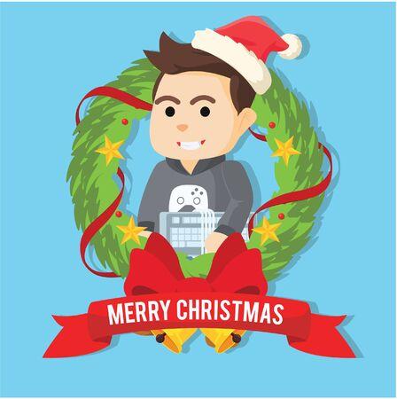 gamer: gamer inside christmas wreath