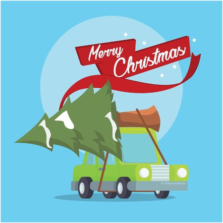 car carrying tree for christmas Illustration