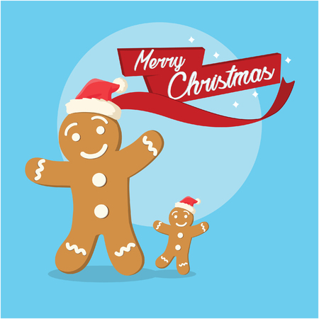 gingerbread and its son merry christmas illustration Illustration