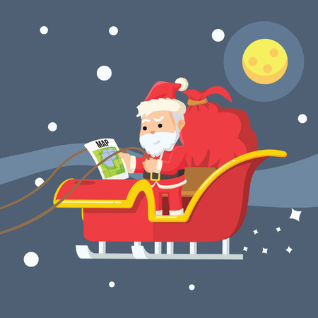 while: santa looking at map while flying sleigh