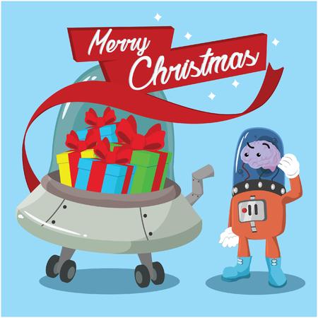 brain alien ufo full of christmas presents Illustration