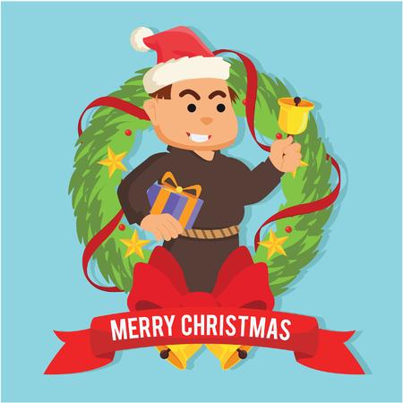 bishop with christmas present inside christmas wreath