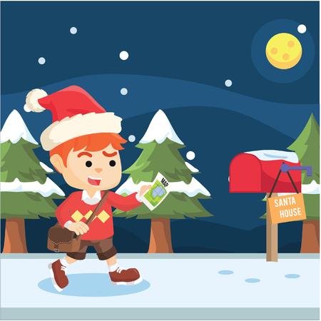 finding: boy finding santa house Illustration