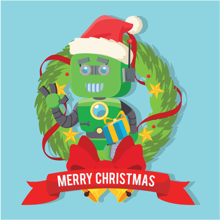green robot with gift present inside christmas wreath Vectores