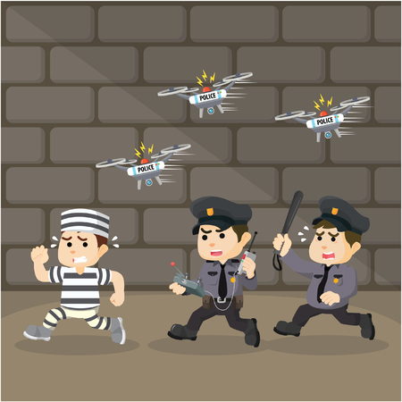 convict: police chasing convict with drone Illustration