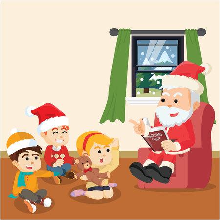 santa telling christmas story for kids Illustration