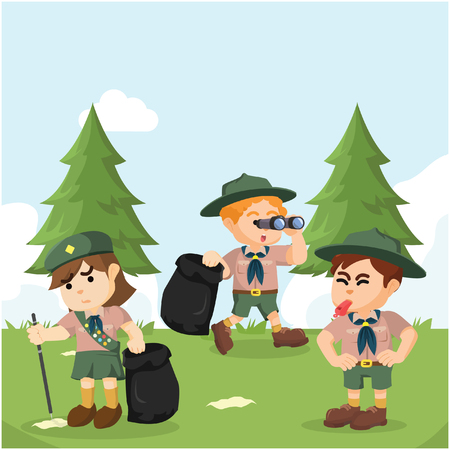 scout working together to clean forest Illustration