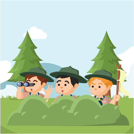 hiding: group of boyscout hiding behind bushes Illustration