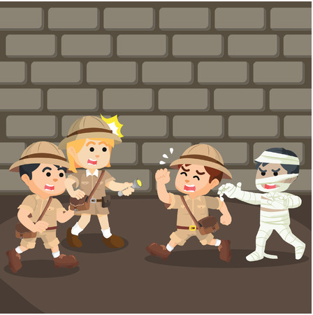 chased: group of explorer running from mummy Illustration