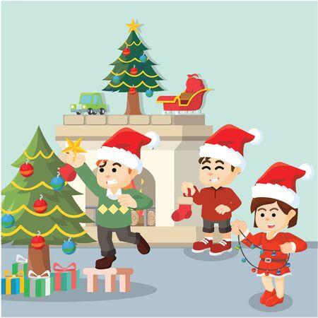decorating: kids decorating for christmas Illustration