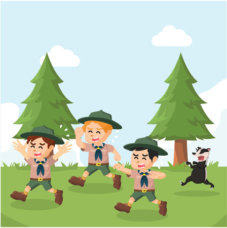 group of boyscout chased by honey badger Illustration
