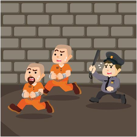 convict: convict escaping prison illustration design