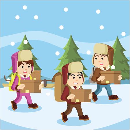 yeti: group of arctic exploler chased by yeti Illustration