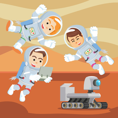 controlling: group of astronaut controlling rover