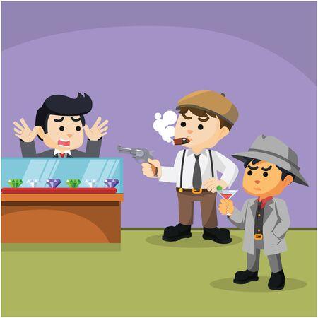 robbing: group of mafia robbing jewel store