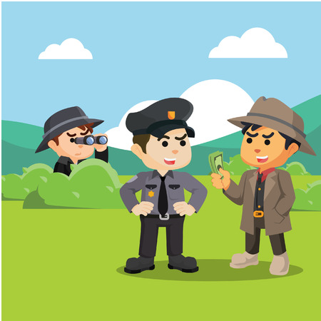 investigating: spy investigating corrupt police Illustration