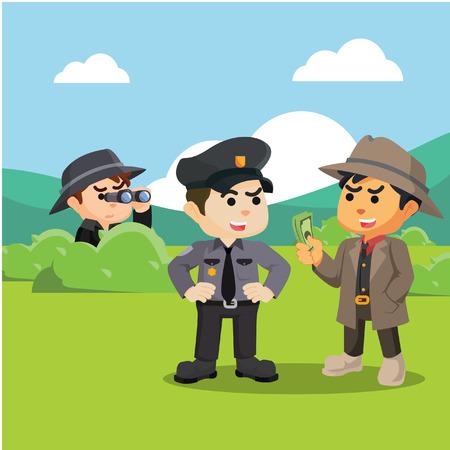 investigating: spy investigating corrupt police Illustration