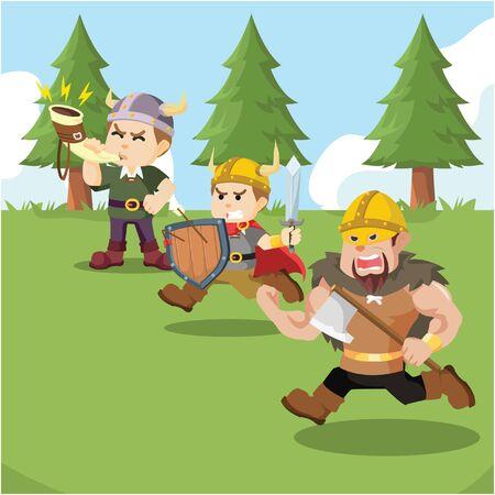 group of viking soldier charging Illusztráció