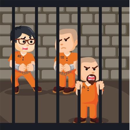 prison: group of convict inside prison