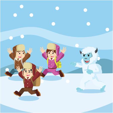 group of arctic exploler chased by yeti Illustration