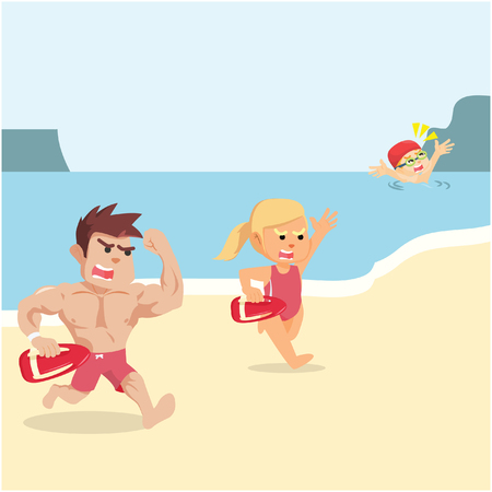 drowning: life guard trying to rescue drowning people Illustration