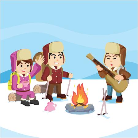 group of arctic exploler taking break