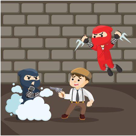 attacking: group of ninja attacking mafia Illustration