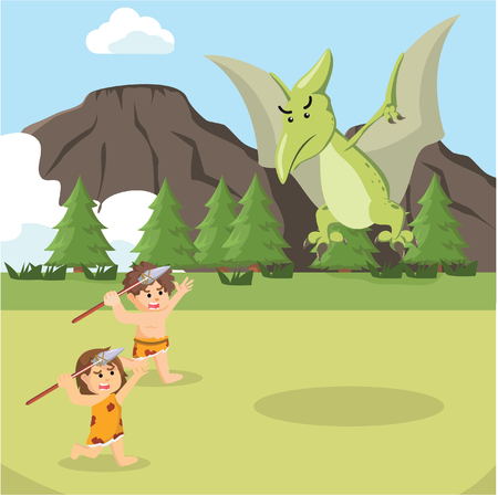 cave man and cave woman attacking pteranodon Illustration