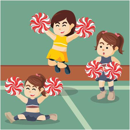 excitement: cheerleader group illustration design