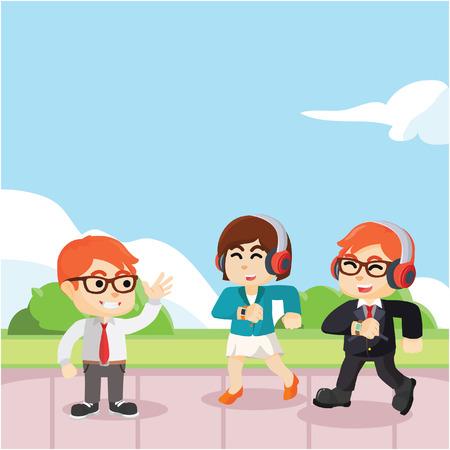 greet: business man greet friends Illustration