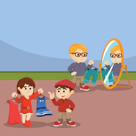 outfit: kids choosing outfit illustration design Illustration