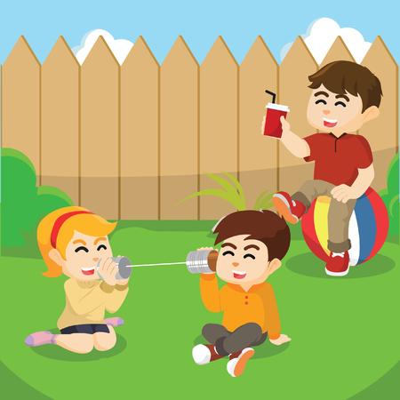 backyard: kids playing at backyard