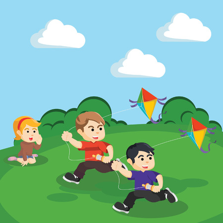 kids playing kite at the hill Illustration