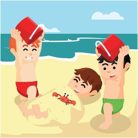 Chłopiec pogrzebał swojego przyjaciela na plaży