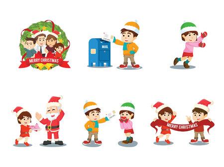 cristmas: cristmas family cartoon set