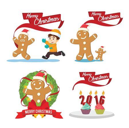 cristmas: ginger cristmas cartoon set