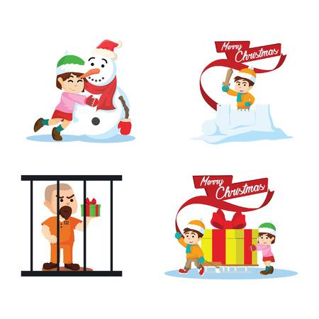 cristmas: cristmas gifts cartoon set