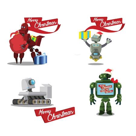 cristmas: cristmas robot cartoon set Illustration