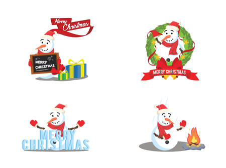 snow man cartoon set