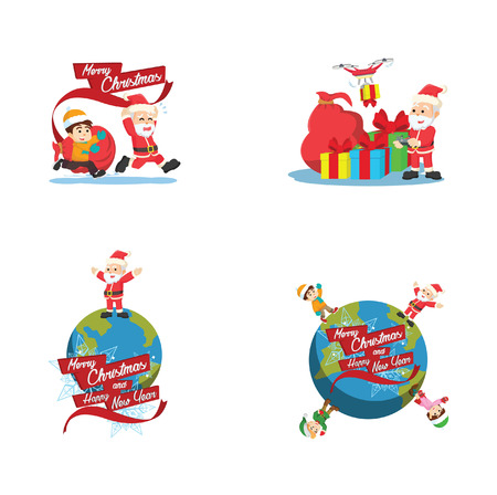 around the world cartoon set