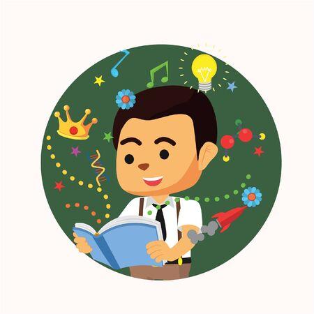 student reading: student reading book illustration design Illustration