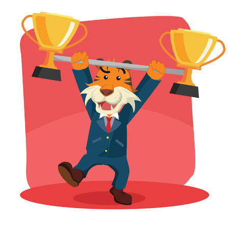 business tiger lifting trophy