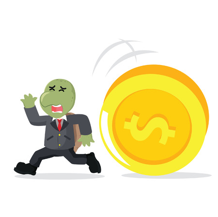 business turtle running from giant coin Illustration