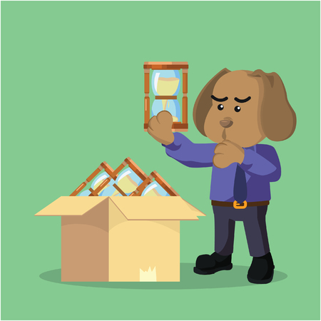 choosing: business dog choosing hourglass Illustration