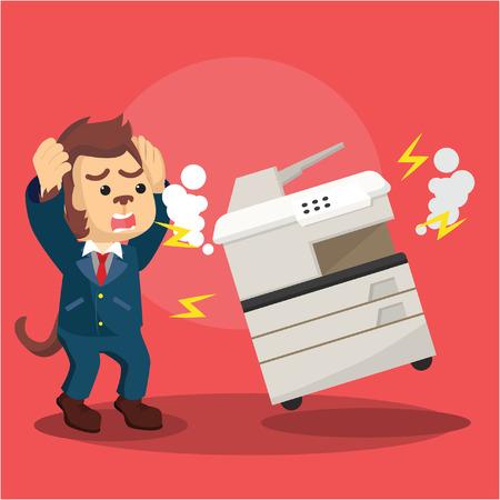 aap zaken paniek omdat gebroken kopieermachine Vector Illustratie