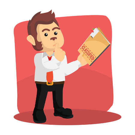 business monkey holding confidential report Illustration