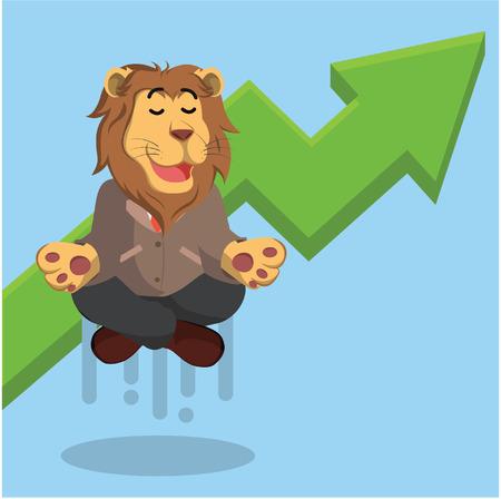 meditating: business lion meditating with graphic raising