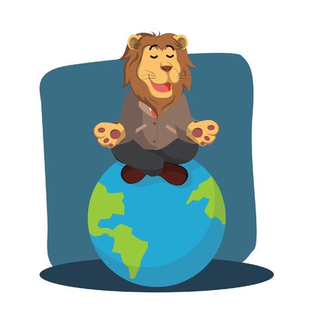 business lion meditating on earth