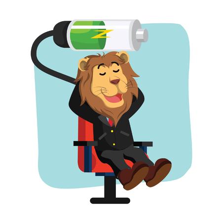 business lion relaxing recharging battery
