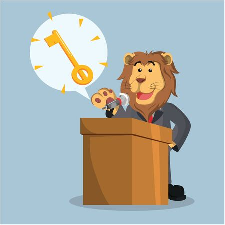 business lion with key callout